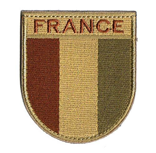 Ohrong Écusson brodé drapeau de la France - F2/FELIN - Pour uniforme français - Pour chapeaux et équipements tactiques - Avec crochet et boucle - Kaki