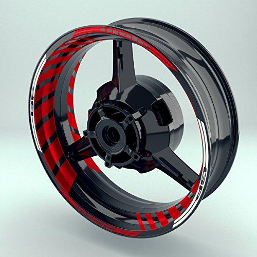 OneWheel Felgenrandaufkleber Motorrad Komplett-Set (17 Zoll) - Felgenaufkleber MotoGP Rot (Rot Doppelt - glänzend)