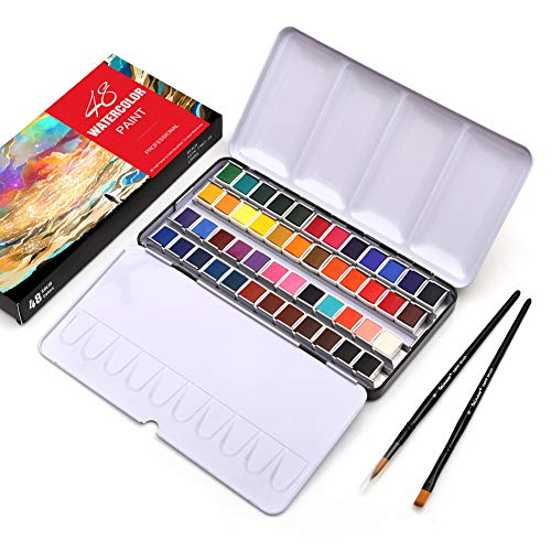 Dainayw Watercolor Paint Set, 48 Vivid Colors in Half Pans (in Tin Box) with Paint Brush and Watercolor Paper for Artists, Art Painting, Students, Kids, Beginners & More
