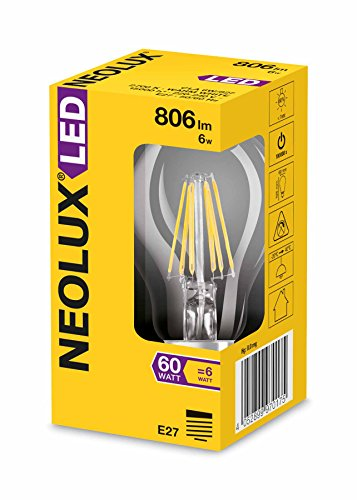 Neolux LED Classic A, in Kolbenform mit E27-Sockel, Nicht Dimmbar, Ersetzt 60 Watt, Filamentstil Klar, Warmweiß – 2700 Kelvin, 10er-Pack - 3