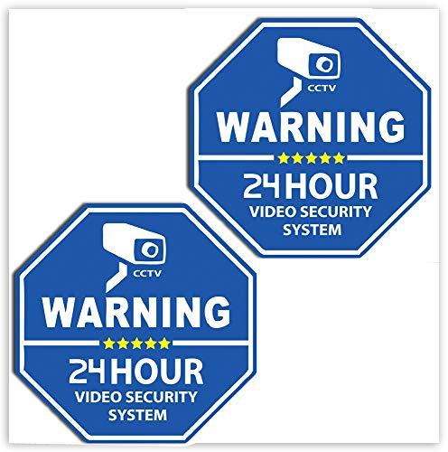 SkinoEu 2 x PVC Laminado Pegatinas Adhesivos CCTV Advertencia 24 Horas Cámara Vigilancia Video Seguridad para Autos Coches B 65