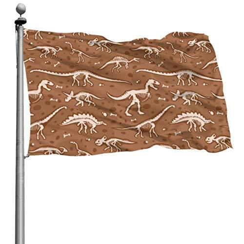 Imprimir bandera Jurassic Huesos de dinosaurio Esqueleto Arqueología antigua Holiday Yard Flags Set Decoración de pared Bandera 4x6 Ft (120x180cm) Poliéster Con ojales Decoraciones Interior / exterio