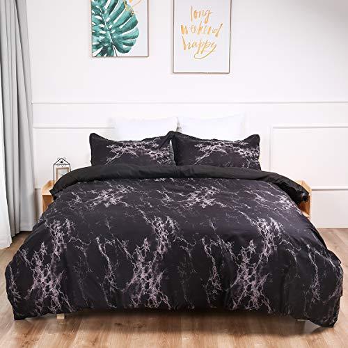 WONGS BEDDING Bettwäsche 155x220 cm Marmor Muster Bettbezug Mikrofaser Bettwäsche Set 3 Teilig Bettbezüge mit Reißverschluss und 2 * 80x80cm Kissenbezug(Schwarz)