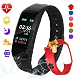 beitony Fitness Tracker,Color Screen Activity Tracker Watch Blood Pressure Blood Oxygen, IP67 Waterproof Smart Band Heart Rate Sleep Monitor Calorie Counter Pedometer Men, Women Kids (B-RED)