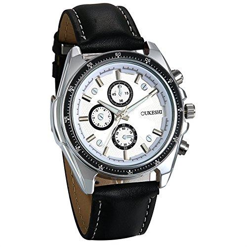 JewelryWe Reloj de pulsera para hombre, con cronómetro, esfera blanca, correa de piel negra