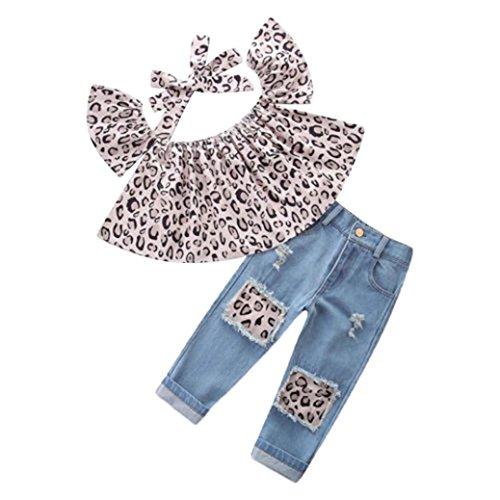 Trada 3PC Kinder Baby Mädchen Outfits Leopard Schulterfrei Tops + Loch Jeans + Stirnband Kleidung Kind Baumwolle Strampler T-Shirt + Hose Bodysuit...