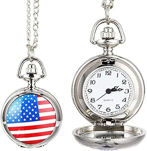 NC134 Collares Mujeres Hombres Reloj de Bolsillo Hombres Mujeres Reloj de Bolsillo de Cuarzo Aleación Vintage Bandera de EE. UU. Bandera Unisex Cadena de eslabones Collar Colgante Reloj de Regalo