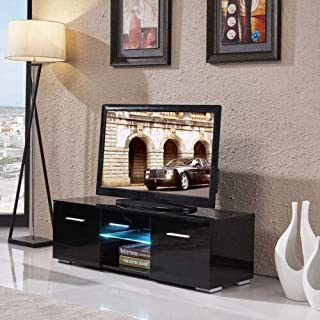 High Gloss Black TV Stand Unit Cabinet w/LED Shelves 2 Drawers Remote Control