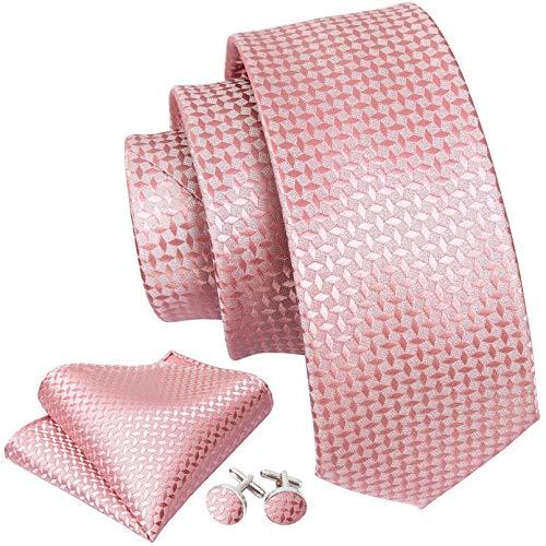 GPZFLGYN Corbata geométrica rosa coral para hombre, corbata tejida jacquard de seda de 8,5 cm, pañuelo de negocios para bodas, corbata de gemelos