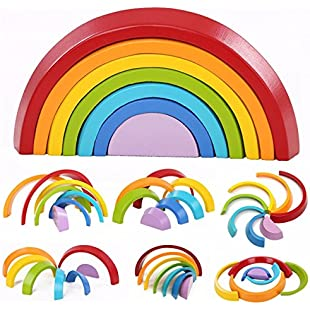 KINGSO 7pcs Wooden Rainbow Learning Toy Geometry Building Blocks Educational Puzzle Toy
