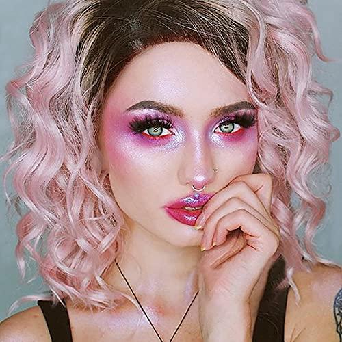 Peluca rizada rosa degradada, peluca de cosplay de Halloween esponjosa ondulada con raíces negras para mujer, pelucas onduladas de Bob rizado corto para mujeres de 15 pulgadas, pelucas de fiesta