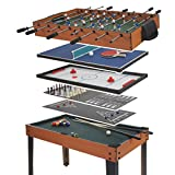 Mendler table football HWC-E12, table football billiard hockey 7in1 multiplayer game table, 82x107x60cm ~ beech optics