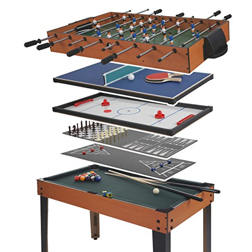 Mendler Table de Baby-Foot Wakefield, Billard, Hockey, 7 en 1, Table multijeux, 82x107x60cm