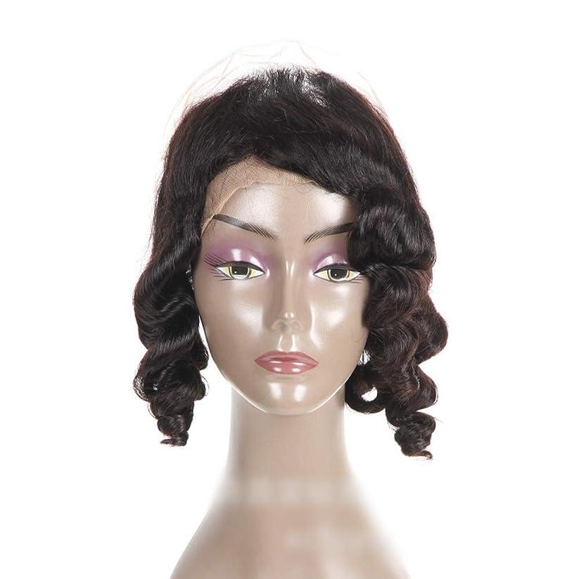 敬の念性交ディスコYrattary 360前頭人間の髪の緩い波カーリーヘアエクステンションレース前頭かつら女性のための自然な黒い色(8