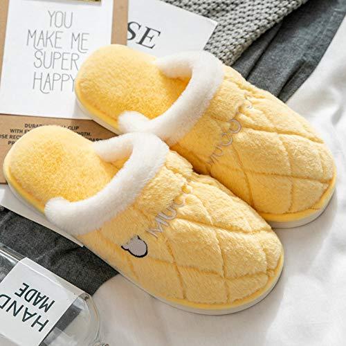Nwarmsouth Zapatos cálidos acogedores de la casa,Zapatillas de casa cálidas, Zapatos de algodón Antideslizantes Resistentes al Desgaste-Amarillo_35-36,Zapatos de casa con Suela antides