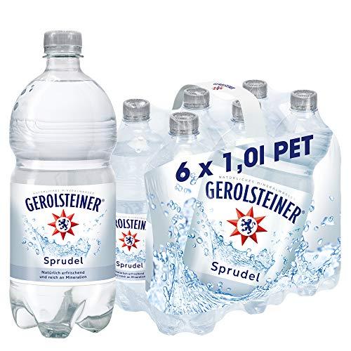 Gerolsteiner Sprudel / Natürliches Mineralwasser mit viel Kohlensäure und wertvollem Calcium und Magnesium / 6 x 1,0 L PET Einweg Flaschen