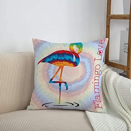 Fundas de cojines sencillas y clásicas de 45 x 45 cm,Flamingo, Single Flamingo Rainbow Color Tie Dye Effect Bac,ideales para casa, oficina o para la espalda en el coche - Fundas de Poliéster para sofá