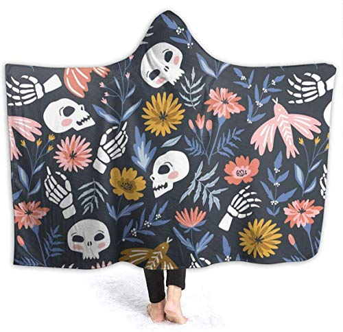 Skelette Vögel Blumen Mit Kapuze Decke Werfen Wearable Cuddle Hoodie Robe Spa Schwarz Ultra Soft Blanket Bademantel