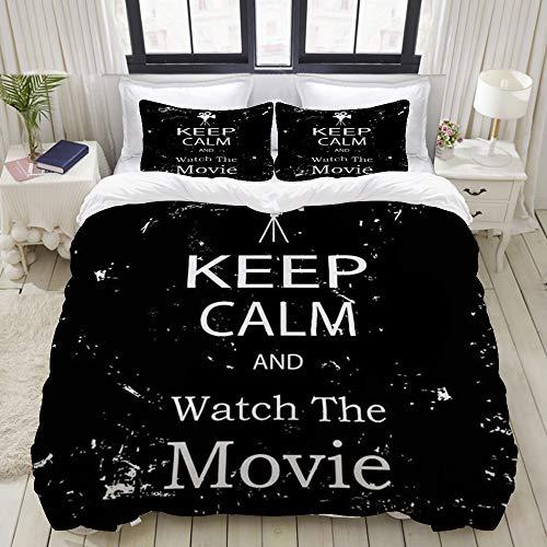 Luoquan Ropa de Cama - Funda nórdica Keep Calm Watch Movie Grunge Print,Microfibra Nuevo Set de Tres Piezas Funda de edredón 220 x 240 cm