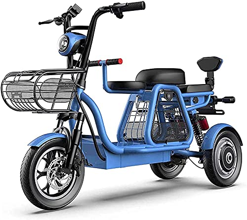 Bulaxxooo Adult Tricycles, 12Inch Electric Tricycle for Adults Recreation, Shopping, Exercise Men's Women's Bike Cargo Basket, Adjustable Handlebars for Women Men Shopping Exercise Recreation