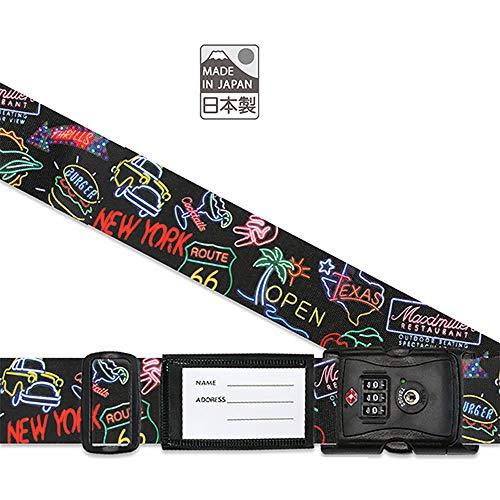 日本製 TSAロック 付 スーツケースベルト ネオン柄 3桁 ダイヤルロック 検査開錠表示付き しなやかベルト使用