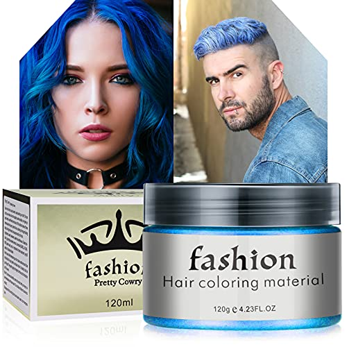 Cire Couleur Cheveux, Cire à Cheveux de Couleur, Teinture Cheveux Cire, Teinture Capillaire Lavable Wax, Coloration Temporaire Cheveux Pour Hommes et Femmes, 120ml(Bleu)