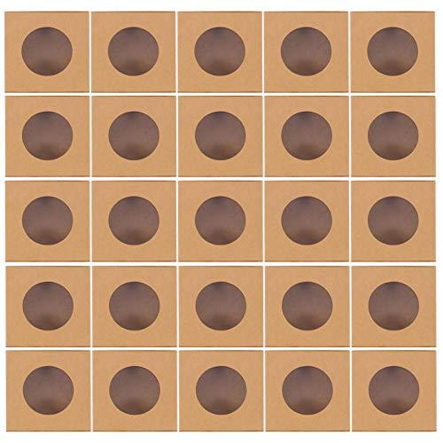 Amosfun Caixas de Confeitaria 25 Unidades Marrons Com Janela de Pvc Papel Kraft Caixas de Confeitaria Caixas de Bolinhos para Catering Em Restaurantes E Festas 10X10x3cm
