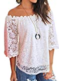 MIHOLL Women's Lace Off Shoulder Tops Casual Loose Blouse Shirts (White, Large)