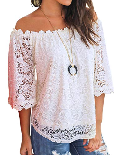 MIHOLL Women's Off The Shoulder Lace Top Loose Blouse (White, Medium)