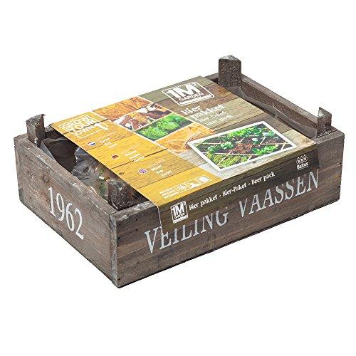 geschenkartikel-shopping square meter garden Pflanz-Set Bier Holzkiste Samen Hopfen Malz Geschenkidee