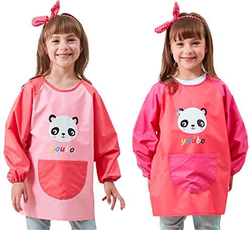 Chilsuessy Langarm Malschürze, 2 pcs Kinder Bastelkittel, Kinderschürze Wasserdicht Malkittel Kittel Kindergarten Malerei Kleidung für Mädchen Junge (Pink + Rot, XL/Kind höhe 115-135cm)