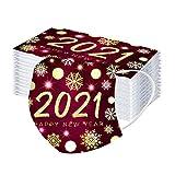 Memefood 100 Stück Damen Herren Mundschutz mit Motiv 2021 Bunt Mund und Nasenschutz Atmungsaktiv Mund-Tuch Bandana Halstuch Schals