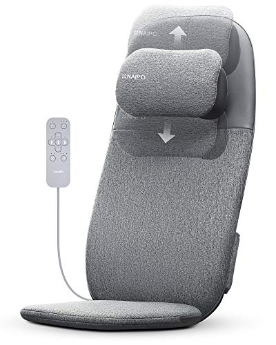 NAIPO Shiatsu Back and Neck Massager Deep Kneading Massage oCuzen™ Cushion with Heat,Height Adjustable Back Massager for Pain & Stress Relief, Massage Chair Pad for Home Office Chair