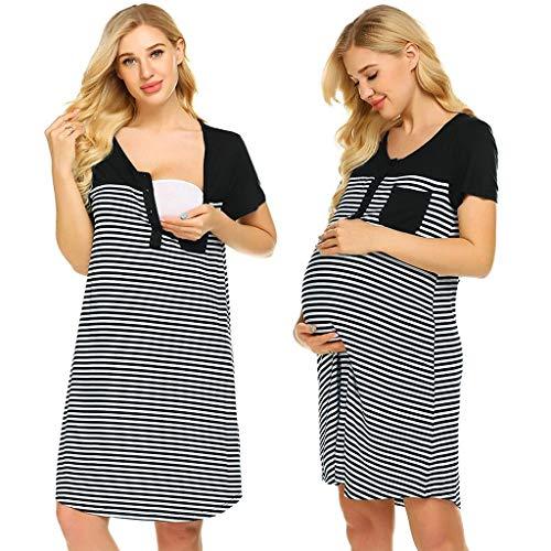Yuelie Vestido de Lactancia de Bolsillo con Rayas Informales para Maternidad, para Lactancia, Embarazada, Verano, Manga Corta, Camisa, Vestido de Noche Negro Negro (L