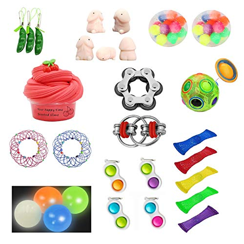 PLENTOP 32 Pack Sensory Fidget Toys Set Stress Relief Hand Toy Anti-Anxiety Autism Tools for Kids Teens, Bundle Squeeze Toy Fun Fidgeting Game Birthday Party Carnival Classroom Office Easter Gift
