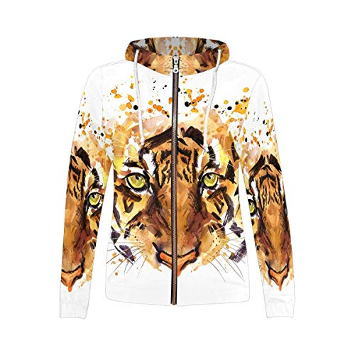 Cute Tiger Watercolor African Animals Tropical Nature Wildlife Women's Zipper Hoodies Sweatshirt L