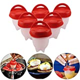 KingSaid Pack of 6 Boiled Egg Maker, Egg Cooker Set Non-Stick Silicone Egg Cups Without Shells & Separator