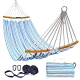Double Hammock with Tree Straps Kit, Ohuhu Folding Curved-Bar Bamboo Hammock with Carrying Bag, Portable 2-Person Hammocks for Patio, Backyard, Porch, Camping, Travel, Indoor Outdoor Use