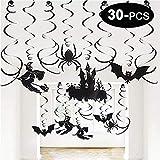 Tian 30 piezas decoraciones colgantes de techo de Halloween Set Halloween decoraciones de casa embrujada incluidas decoraciones de remolino, casa fantasma, brujas, murciélagos, arañas (negro)