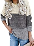 MEROKEETY Women's Crew Neck Long Sleeve Color Block Knit Sweater Casual Pullover Jumper Tops from