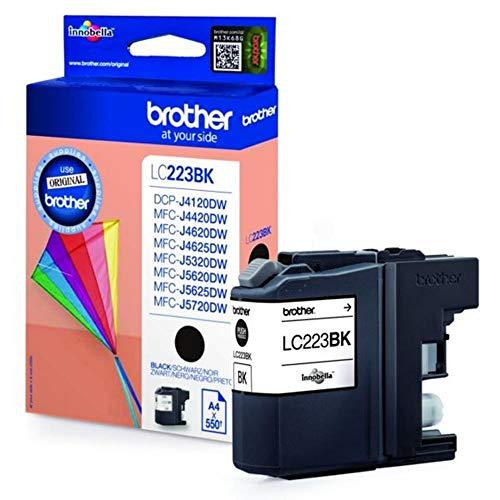 Brother LC-223BK Colores de impresión: Negro, Producción de papel: 550 páginas, Página de pie de página: ISO / IEC 24711. Tipo de embalaje: blíster