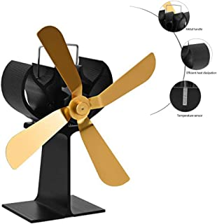ZCSPFAIRY 4 Blade Stove Fan Heat Powered Fan for Wood/Log Burners or Fireplace Quiet Design Eco-Friendly and Economical – Gold