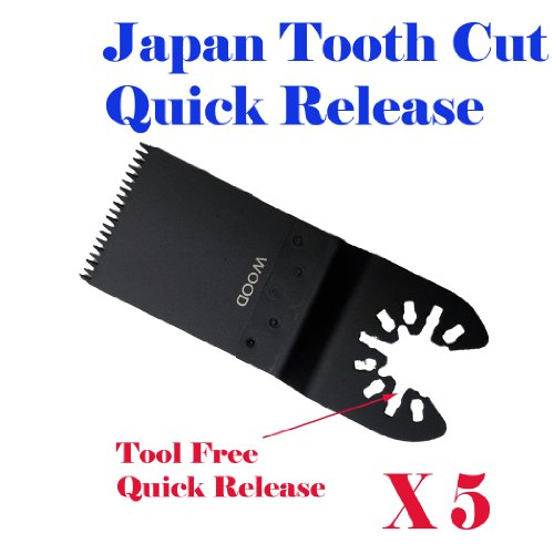 MTP Pack of 5 Japan Tooth Course Quick Release Universal Fit Multi Tool Oscillating Multitool Saw Blade for Dewalt Craftsman Bolt-on Mm20 Rockwell Hyperlock Shopseies Universal Fit Porter Cable Black and Decker Bosch Tool Free Quick Release System