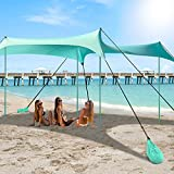 10x10FT Family Beach Sunshade Canopy, UPF50+ UV Protection Beach Sun Shade Tent with Storage Bag, Sandbag Anchor and Ground Anchor, Portable Pop Up Sun Shelter with 4 Aluminum Poles and Storage Bag