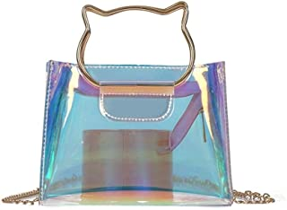 Khouses Small bag female summer new colorful laser portable jelly bag shoulder diagonal small bag (Color : Clear)