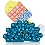Skisneostype 2 Stück Push Pop Pop Bubble Antistress Spielzeug, Poppet Sensory Fidget Toys Set, Figetttoys Popet Spielzeug für Autismus ADHS Stress, Stressabbau für Kinder Erwachsene