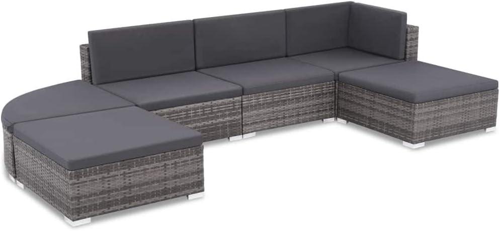 vidaXL Outdoor Sofa Set 70% OFF Outlet 16 Piece Max 57% OFF C Gray Wicker Poly Rattan Patio