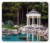 Landschafts-Mauspad, Pavillon von The Pond in einem wunderschönen grünen Park Naturwald Blick auf den Garten, Standardgröße Rechteck rutschfestes Gummi-Mauspad, grün blau und weiß