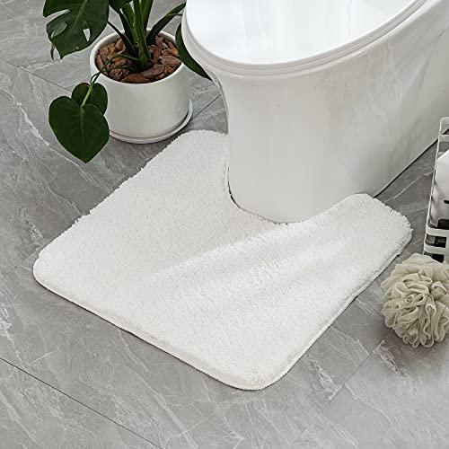 MIULEE 1 Pieza Alfombra de Forma de U Pelusa Rizada Suave Antipolvo Antideslizante Absorbente Alfombra Lavable para Baño 45 x 45cm Blanco