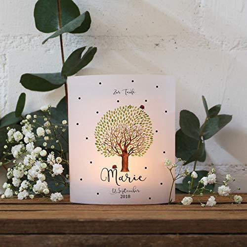 ilka parey wandtattoo-welt Teelichthüllen zur Taufe 2er 4er Set für Windlichter Teelicht Lichthülle Hülle Baum mit Marienkäfer + Wunschname Datum te125 - ausgewählte Größe: *4X Lichthüllen*